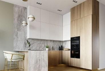 Висока кухня 3 метри до стелі. Сучасна біла кухня під замовлення Тернопіль у білому акрилі та шпонованими фасадами. Біла кухня та текстура дерева