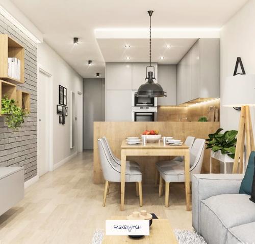 Проєкт дизайну П-подібної бежевої кухні на замовлення Тернопіль. Кухня без ручок з глянцевими фасадами та дерев'яною стільницею