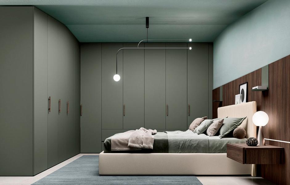 гардеробні системи, шафи розпашні у мінімалістичному стиліі, зелені розпашні двері для шафи