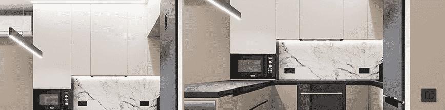 Кухня з матовими акрил фасадами, колір кухні бежевий та кофейний