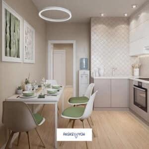 Бежева кухня, світла дизайнерська кухня Тернопіль. Замовити кухня дешево. Проєкт кухні фото