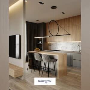 Дизайнерська кухня. Люстра лофт у кухонній зоні