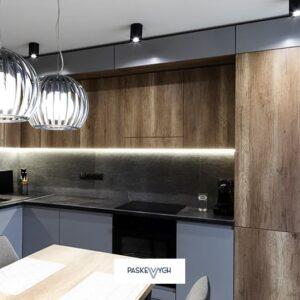 Кухня сучасна з стільницею та стіновою підсвіткою HPL та матовими фасадами
