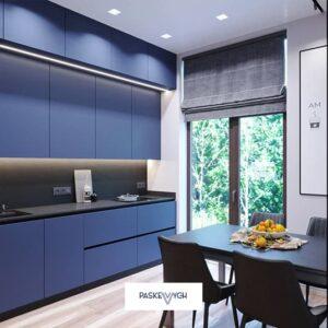 Кутова синя кухня на замовлення. Сфера меблів, кухні на замовлення Тернопіль. Фабрика Нова тернопіль кухні ціни