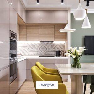 Дизайнерська кухня з фасадами акрил, Кутова кухня з вмонтованими. Кухні тернопіль фабрика нова