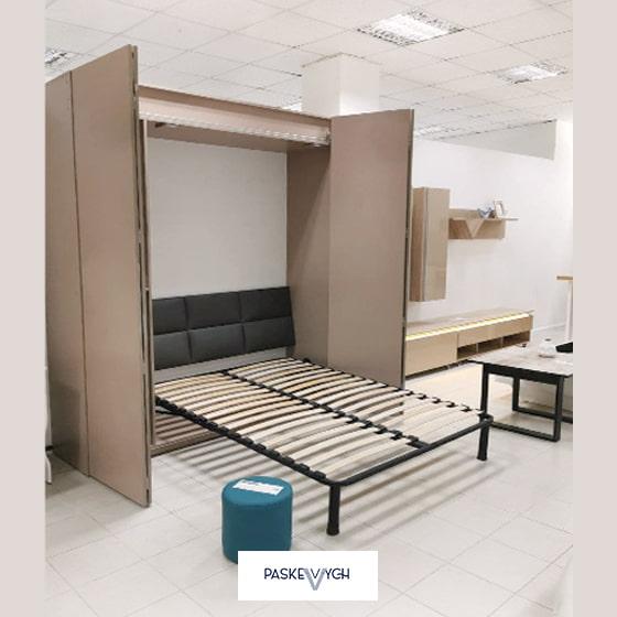 Бежеве ліжко розкладе із шафи. Шафа - трансформер. Шкафы-кровати купить в Украине 140 х 200